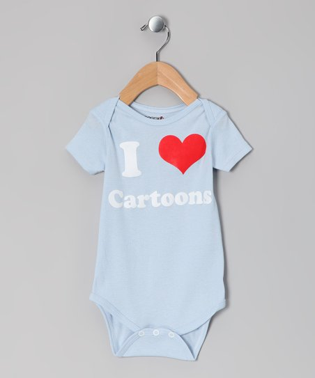 Light Blue 'I Love Cartoons' Bodysuit - Infant