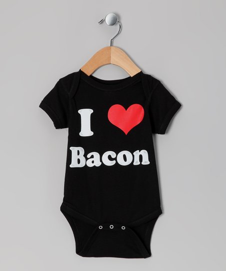 Black 'I Love Bacon' Bodysuit