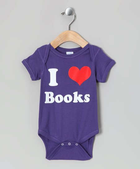 Purple 'I Love Books' Bodysuit - Infant