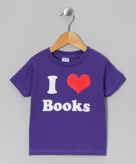 Purple 'I Love Books' Tee - Toddler & Kids