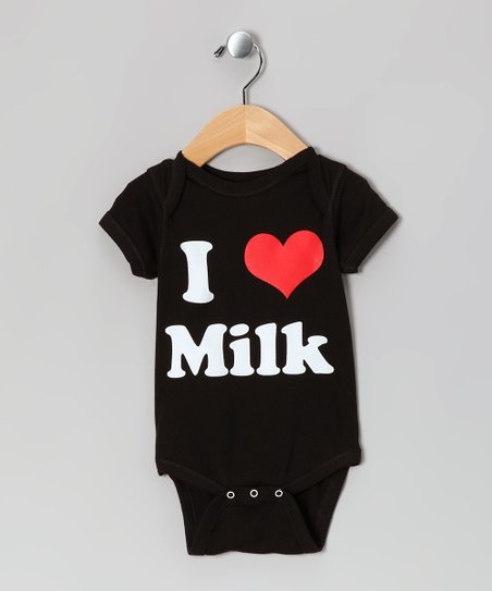 Black &#039;I Love Milk&#039; Bodysuit - Infant