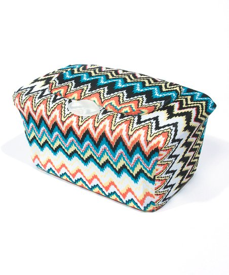 Blue &amp; Brown Zigzag WipesWraps Baby Wipes Cover