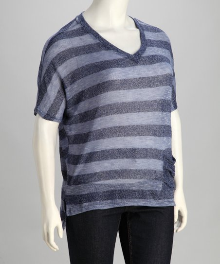 Blue Stripe Plus-Size Dolman Top
