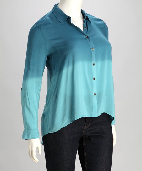 Denim Blue Ombré Button-Up - Plus