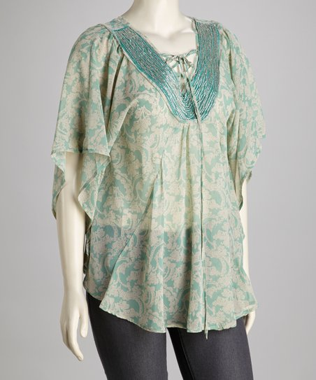 Mint Sheer Tie-Front Top - Plus