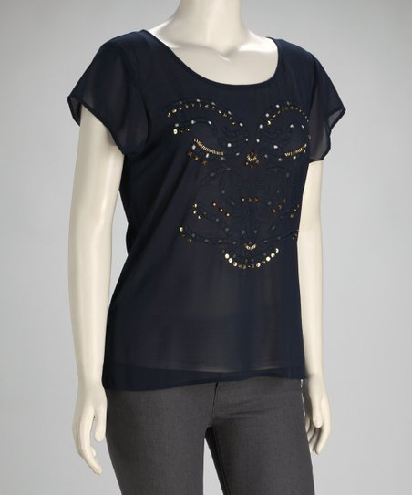 Navy Sequin Plus-Size Top