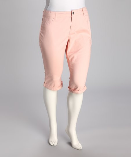 Peach Cuff Plus-Size Capri Pants