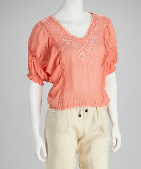 Coral Embroidered Peasant Top