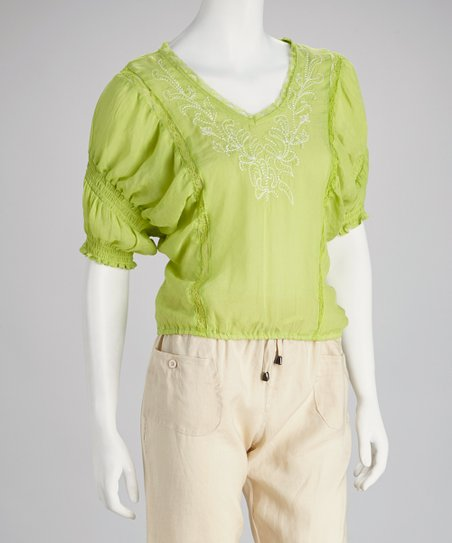 Lime Green Embroidered Peasant Top