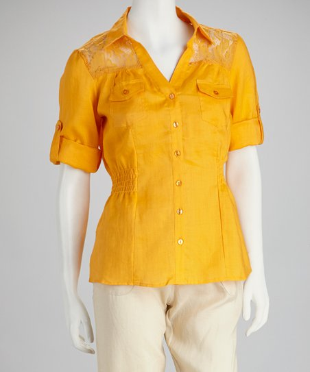 Orange Lace Shirred Linen Button-Up