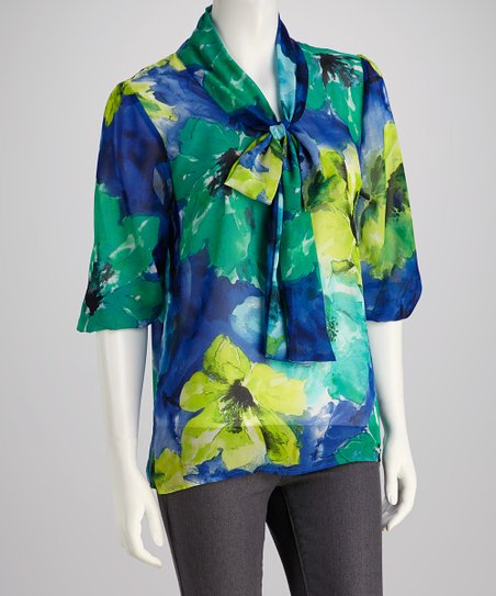 Blue & Green Watercolor Bow-Neck Chiffon Top