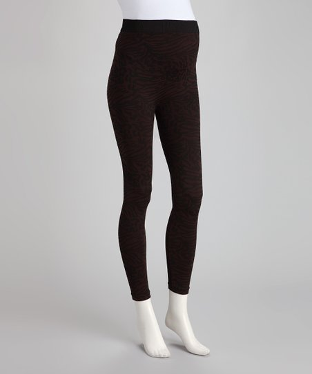 Warm Fudge Snakeskin Over-Belly Maternity Leggings