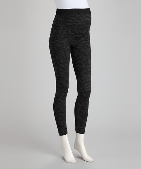 Cool Gray Zebra Over-Belly Maternity Leggings