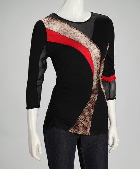 Black &amp; Red Leopard Three-Quarter Sleeve Top - Women