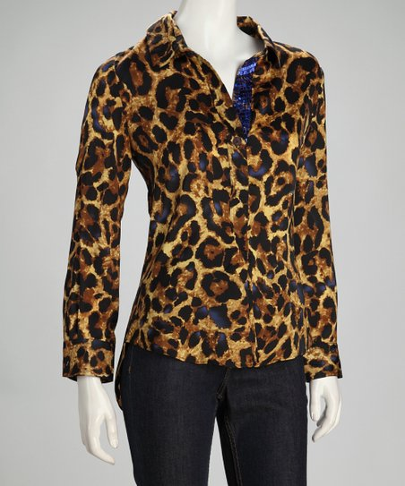 Brown Cheetah Button-Up - Women