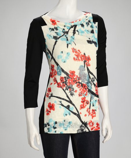 Black Bird Blossom Boatneck Top - Women & Plus