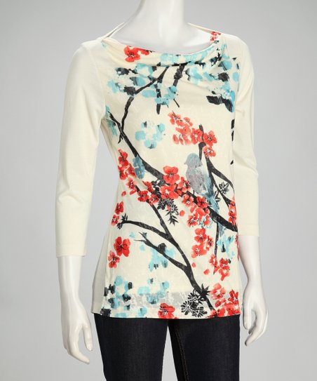Ivory Bird Blossom Boatneck Top - Women &amp; Plus