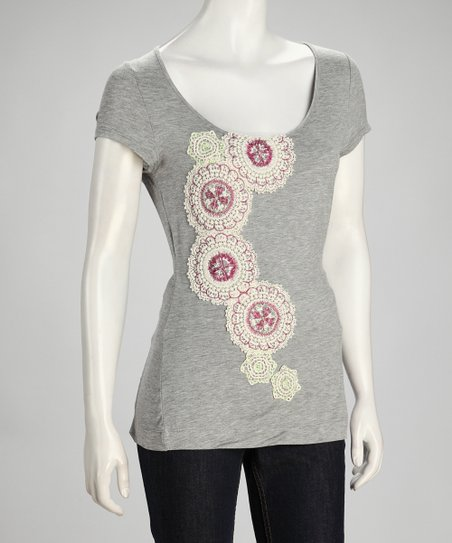 Gray Doily Embroidered Scoop Neck Top - Women