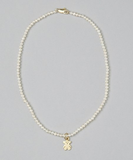 White Pearl & Teddy Bear Necklace