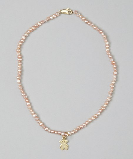Pink Pearl &amp; Teddy Bear Necklace