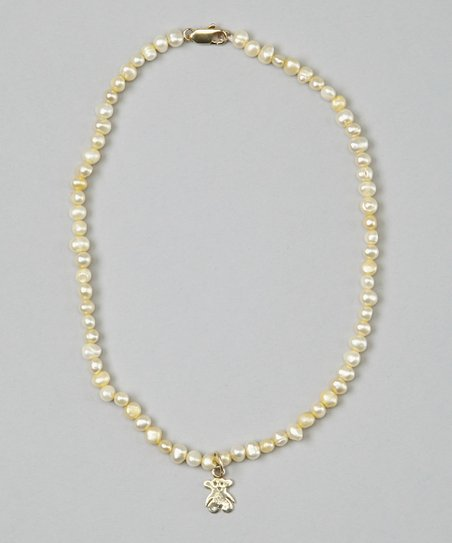 Yellow Pearl &amp; Teddy Bear Necklace