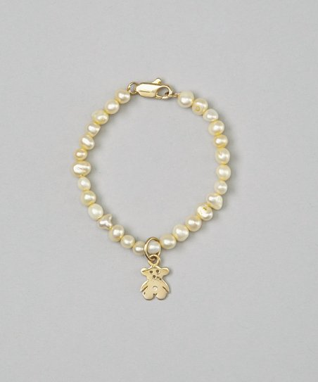Yellow Pearl & Teddy Bear Bracelet