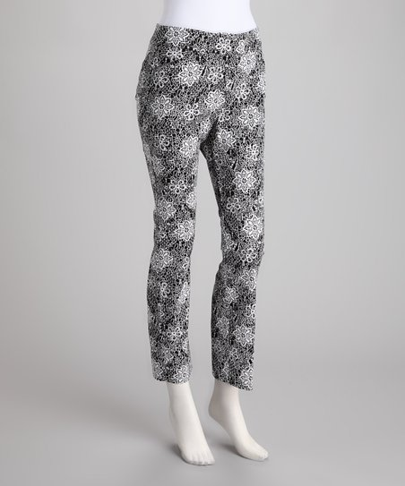 White & Black Floral Skinny Pants