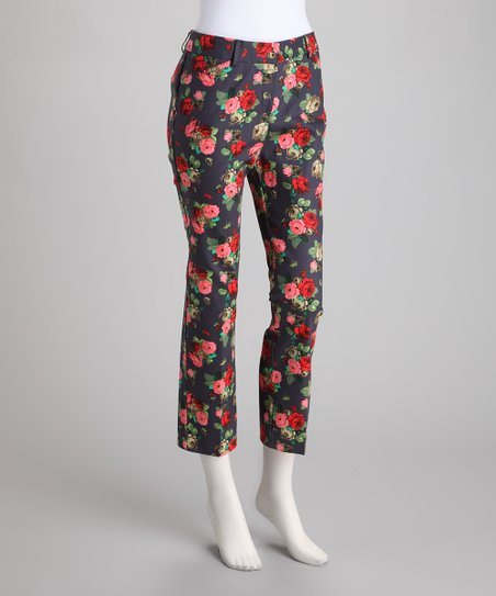 Pink &amp; Navy Floral Skinny Pants