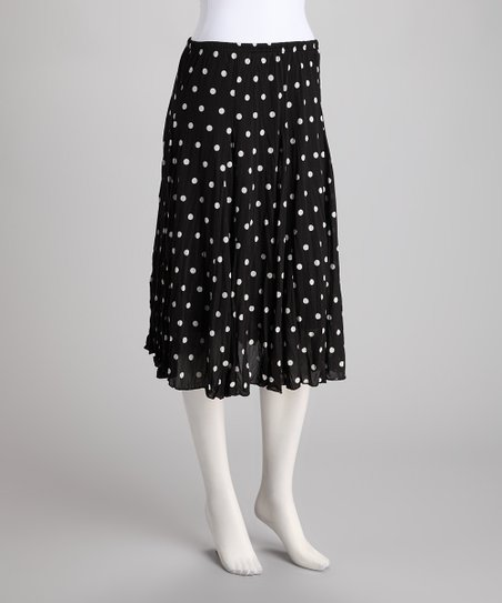 Black &amp; White Polka Dot Crinkle Skirt