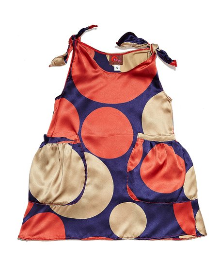 Silver & Red Polka Dot Silk Dress - Infant & Toddler