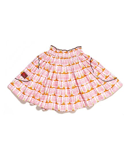 Pink & Orange Floral Skirt - Toddler & Girls
