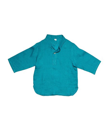 Turquoise Turkus Linen Shirt - Infant, Toddler & Boys