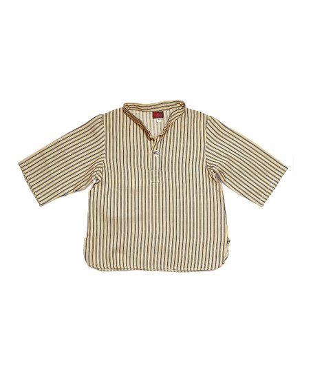 Beige & Blue Stripe Shirt - Toddler & Boys