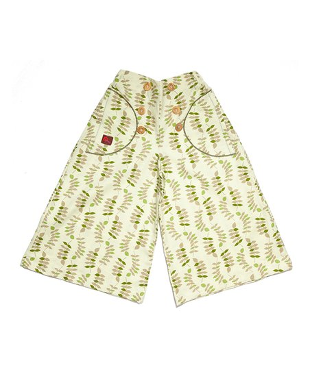 Green Leaves Button Linen Palazzo Pants - Toddler & Girls