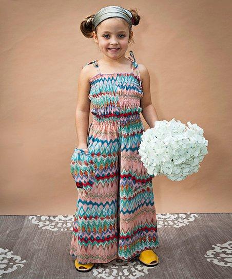 Blue Aztec Silk Jumpsuit - Infant, Toddler & Girls