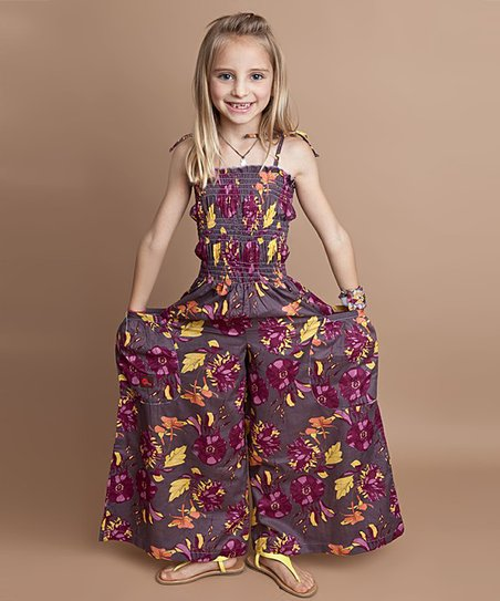 Gray & Purple Floral Silk Jumpsuit - Infant, Toddler & Girls
