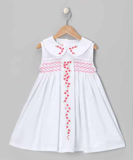 White Floral Vine Smocked Dress - Toddler & Girls