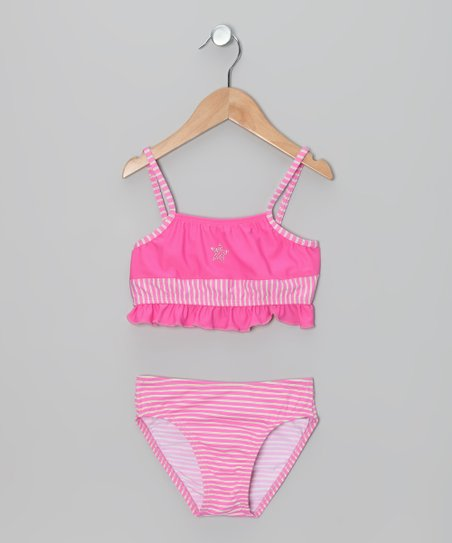 Pink &amp; Green Stripe Ruffle Bikini - Girls