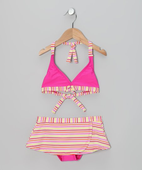 Pink & Yellow Stripe Skirted Bikini - Girls