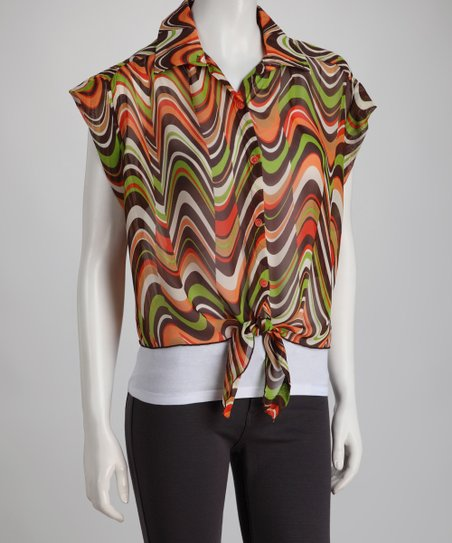 Orange Crop Front-Tie Button-Up Top