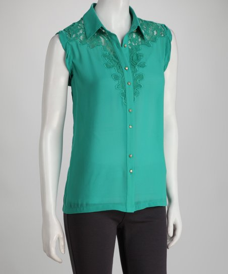 Green Lace Button-Up Top