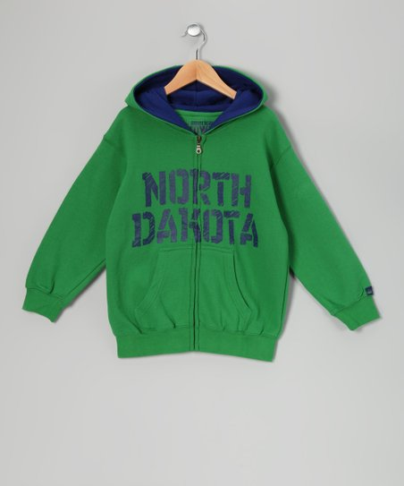 Green 'North Dakota' Zip-Up Hoodie - Kids