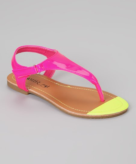 Fuchsia & Yellow Strappy Thong Sandal