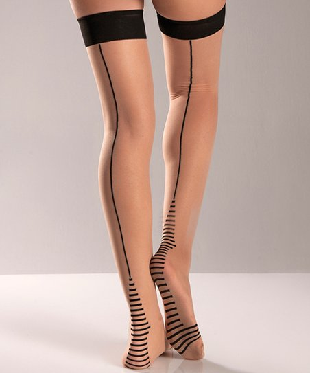 Nude & Black Seam Thigh-High Stockings - Women