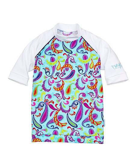 Light Blue Paisley & White Short-Sleeve Rashguard - Kids
