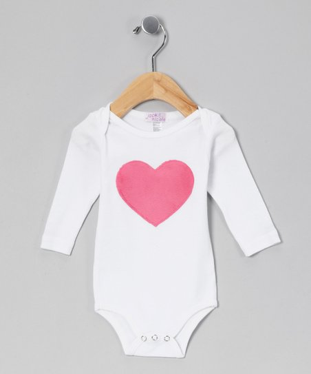 White & Pink Heart Bodysuit - Infant