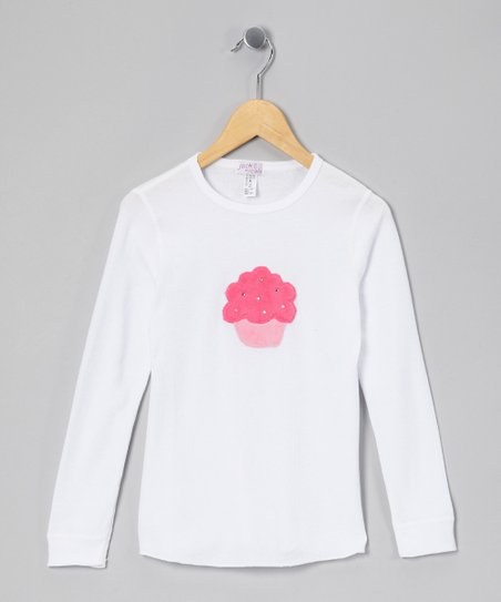 White &amp; Pink Cupcake Thermal - Girls