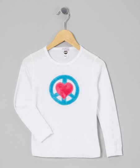 White Peace Heart Thermal - Girls