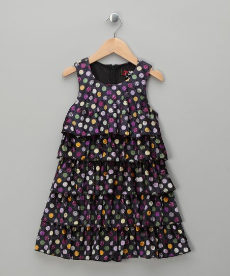 Purple Polka Dot Velvet Ruffle Dress