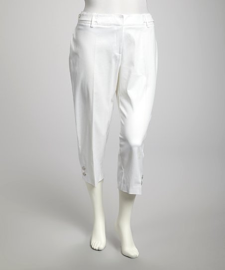 White Twill Plus-Size Cropped Pants